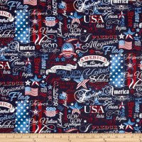 Timeless Treasures American Pride Patriotic Words Navy