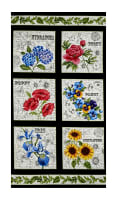 "Timeless Treasures Garden Journal Floral Squares 24"" Panel Black"