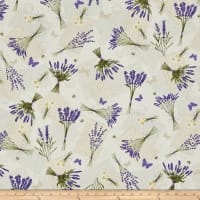 Timeless Treasures Lavender Garden Tossed Lavender & Bees Cream