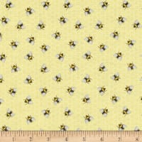 Timeless Treasures Lavender Garden Bees Yellow