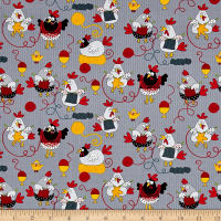 Timeless Treasures Knitting Chickens Cotton Fabric Grey