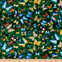 Timeless Treasures Butterflies On Leaves Green