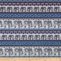 Fabric Merchants Cotton Spandex Jersey Knit Elephants Cream/Pink/Blue