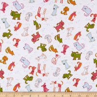 Fabric Merchants Cotton Spandex Jersey Knit Allover Dogs White/Multi