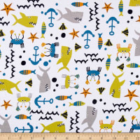 Fabric Merchants Cotton Spandex Jersey Knit Sealife White/Multi