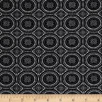 Rayon Stretch Bengaline Round Medallion Black/Ivory