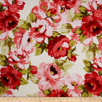 Stretch Poplin Floral Ivory/Poppy