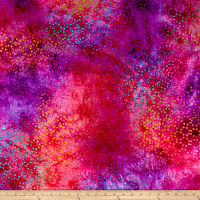 Rayon Challis Batik Dots Red/Purple/Multi