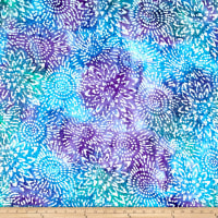 Cotton Jersey Knit Abstract Sunflower Purple/Blue/Teal