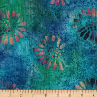 Indian Batik Crinkle Cotton Floral Teal/Wine/Multi
