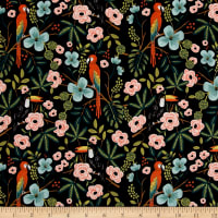 Cotton + Steel Rifle Paper Co. Menagerie Paradise Garden Midnight