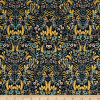 Cotton + Steel Rifle Paper Co. Menagerie Tapestry Metallic Midnight