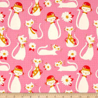Cotton + Steel Beauty Shop Fancy Cats Pink