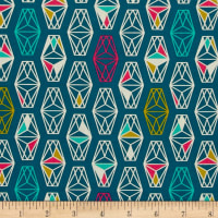 Cotton + Steel Lagoon Lively Lanterns Dark Teal