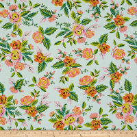 Cotton + Steel Rifle Paper Co. Menagerie Rayon Jardin De Paris Mint