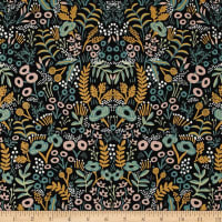 Cotton + Steel Rifle Paper Co. Menagerie Metallic Canvas Tapestry Midnight