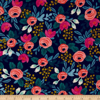 Cotton + Steel Rifle Paper Co. Menagerie Canvas Rosa Navy