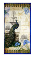 "Kaufman Palais Jardin Metallics 23"" Panel Peacock"