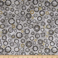 Kaufman Microlife Textures Digital Prints Circles Steel