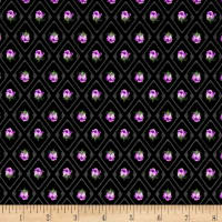 Kaufman Florentina Rose Trellis Flower Black