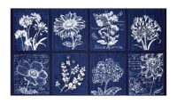 "Kaufman Botanical Beauty Digital Print 24"" Panel Indigo"