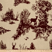 Mountain Cabin Hillside Deer Jacquard Toile Crimson