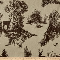 Mountain Cabin Hillside Deer Toile Chocolate