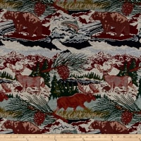 Mountain Cabin Scenic View Jacquard Pebble