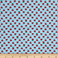 Kaufman Tiny Happy Lucky Cherries Aqua