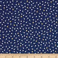 Kaufman Tiny Happy Lucky Stars Metallic Navy