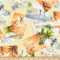 Kaufman Sevenberry Island Paradise Cards Maize