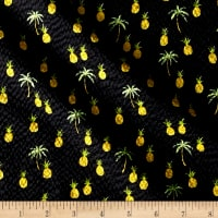 Kaufman Sevenberry Plisse Collection Pineapples Black