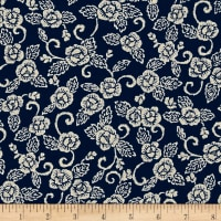 Kaufman Sevenberry Nara Homespun Large Flower Indigo