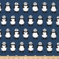 Kaufman Sevenberry Mini Prints Pandas Navy