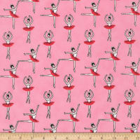 Kaufman Sevenberry Mini Prints Ballerinas Pink