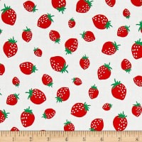 Kaufman Sevenberry Mini Prints Strawberrys White
