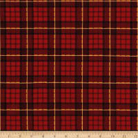 Michael Miller Minky Nutcracker Plaid Cranberry