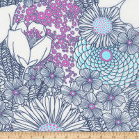 Kaufman Digitally Printed Rayon Challis Bouquet Orchid