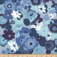 Kaufman Digitally Printed Rayon Lawn Flowers Denim