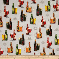 Kaufman Cheers Digitally Printed Beer and Mug Grey