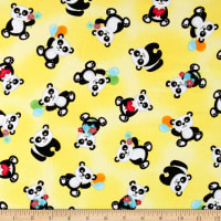 & Co. Panda-monium Flannel Tossed Pandas Yellow