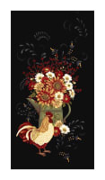 "Plain & Simple 24"" Folk Art Rooster Panel Black"