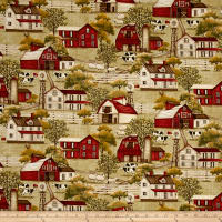 Plain & Simple Folk Art Farm And Barn Scenic Sage Green