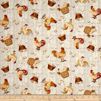 Plain & Simple Folk Art Tossed Chickens Cream