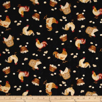 Plain & Simple Folk Art Tossed Chickens Black