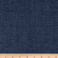 100% European Delave Linen Solid Denim Blue Twill