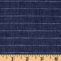 100% European Delave Linen Stripe Denim Blue Twill