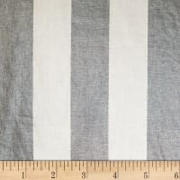 European 100% Linen Metallic Striped Silver & Indigo