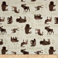 At The Lodge Flannel Animals Allover Bone