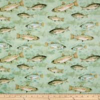 At The Lodge Flannel Fish Allover Light Teal